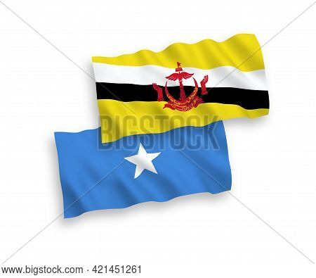 National Fabric Wave Flags Of Brunei And Somalia Isolated On White Background. 1 To 2 Proportion.