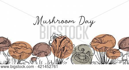 Graphic Mushrooms With Color Spots In Trendy Natural Earthy Tones. Vector Background With Mushrooms,