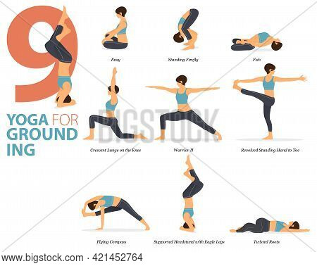 Infographic 9 Yoga Poses For Workout At Home In Concept Of Yoga Grounding In Flat Design. Women Exer