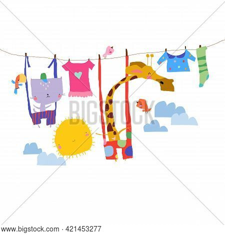 Happy Animals Swinging On Clothesline In The Sky