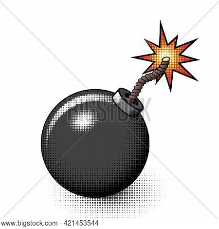 Bomb Icon In Cartoon Comic Style With Burning Wick And Halftone On White Background. Isolated Vector