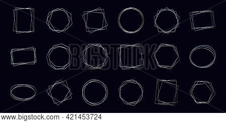 Set Of Eighteen Silver Geometric Polygonal Frames With Shining Effects Isolated On Dark Background.