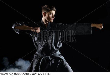 Male karate fighter in black kimono, combat stance