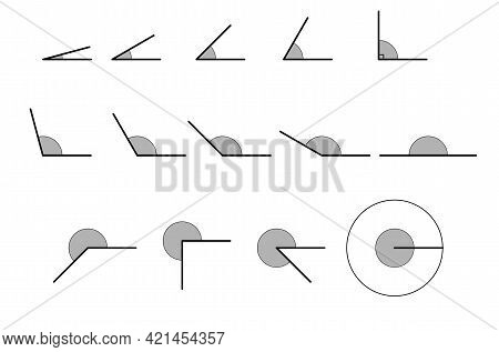 Angles Various. Set Of Vector Icons Consisting Of Angles Of Different Degrees