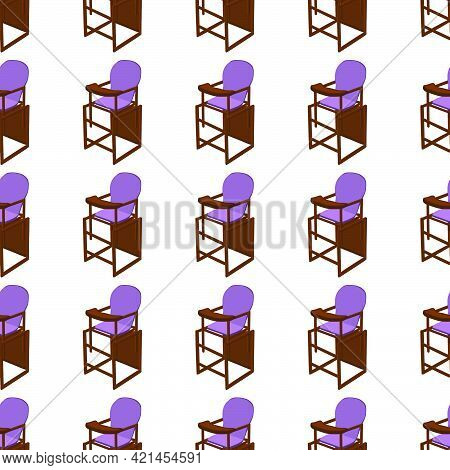 Illustration On Theme Colorful Modern Child High Chair For Baby Feeding. Drawing Consisting Of Colle