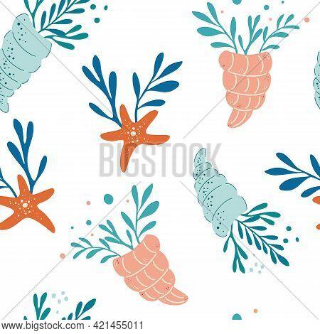Seamless Pattern With Seashells Algae And Starfish. Vector Seamless Sea Pattern. Seashells, Corals,