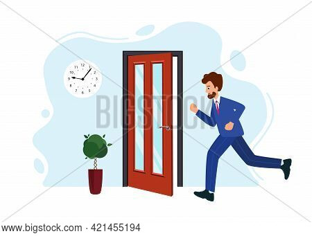 Businessman Is Late For Work Or Meeting. Human Is Running From Work.