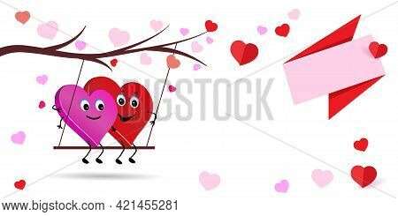 Valentine Couple. Cute Characters Of Lovers. Two Loving Hearts Couple Swinging On Swing.