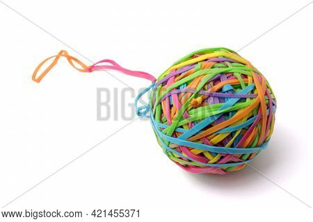 Colorful Multi Color Elastic Rubber Bands Ball Isolated On White Background