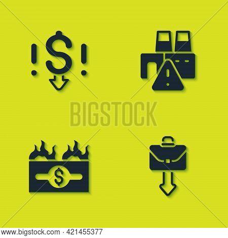 Set Dollar Rate Decrease, Briefcase, Burning Dollar Bill And Shutdown Of Factory Icon. Vector