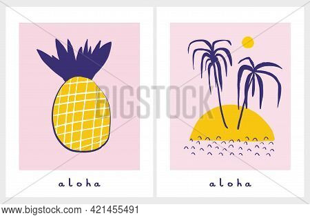 Funny Hand Drawn Tropical Party Vector Illustrations With Palm Trees And Pineapple Isolated On A Lig