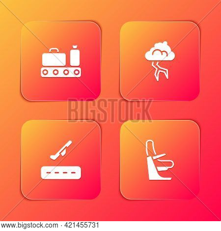 Set Conveyor Belt With Suitcase, Storm, Plane Takeoff And Airplane Seat Icon. Vector