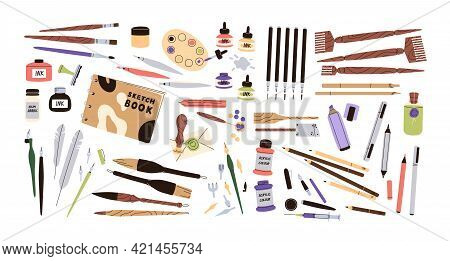 Set Of Calligraphy And Lettering Tool Kit. Different Pens, Pencils, Brushes, Acrylic Paints, Ink Bot