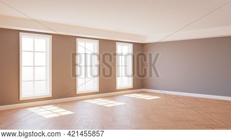 8k Ultra Hd Interior Corner With Gray Walls, Parquet Floor, Three Large White Windows And A White Pl