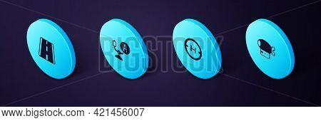 Set Isometric Airship, Helicopter Landing Pad, Aircraft Steering Helm And Airport Runway Icon. Vecto
