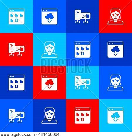Set Browser Files, Cloud Technology Data Transfer, Computer Monitor Screen And Hacker Coder Icon. Ve