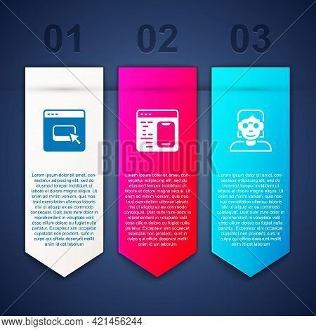 Set Browser Files, Software And Hacker Or Coder. Business Infographic Template. Vector