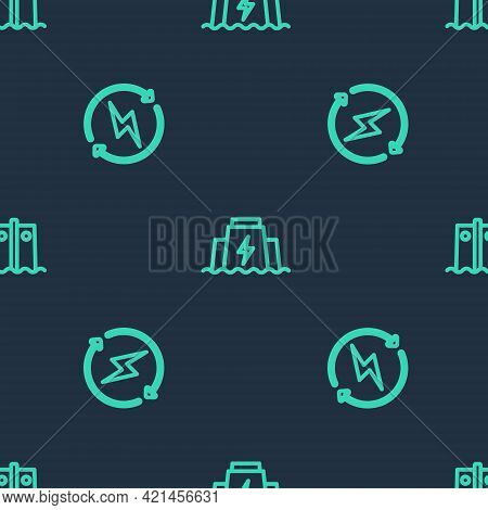Set Line Hydroelectric Dam, Recharging And On Seamless Pattern. Vector