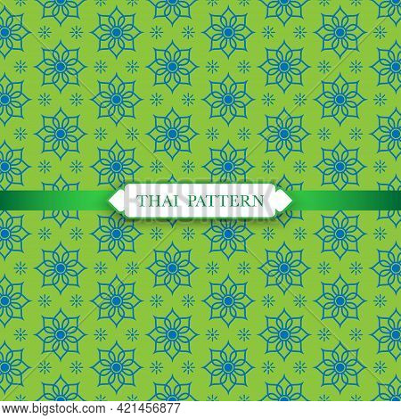 Thai Tradition Seamless Pattern Background, Thai Art Design For Flyers, Poster, Web Or Banner, Vecto