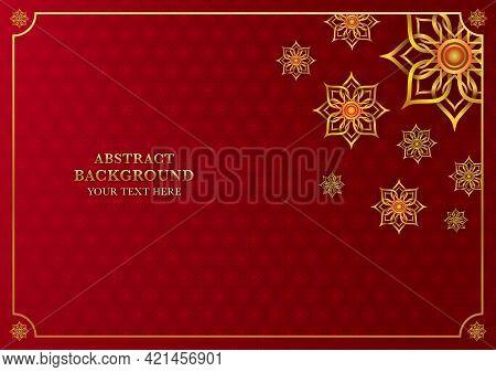 Thai Traditional Background With Gold Frame. Thai Vintage Pattern Wallpaper. Thai Element Design. Ve