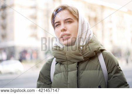 Woman Portrait Confidence Brunette Dressed Warm Winter Jacket City Street Background Dramatic Atmosp