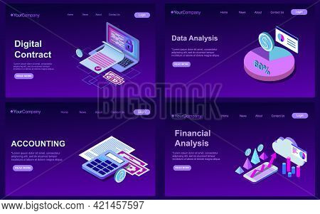 Set Of Website Templates, Concept For Business Technologies, Data Analysis, Adaptive Design. Vector