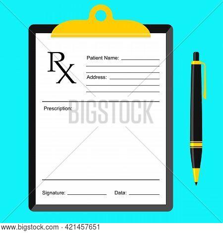 Rx Medical Prescription And Pen Concept Illustration. Rx Recipe Form Modern Flat Design. Health Care
