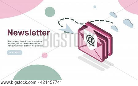 Email Service Isometric Vector Illustration. Electronic Mail Message Concept As Part Of Business Mar