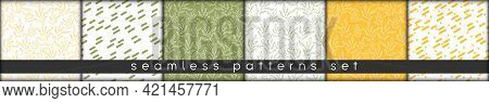 Simple Doodle Botanic Seamless Patterns Set. Hand Drawn Lineart Leaves Elements Modern Eco Style. Pa