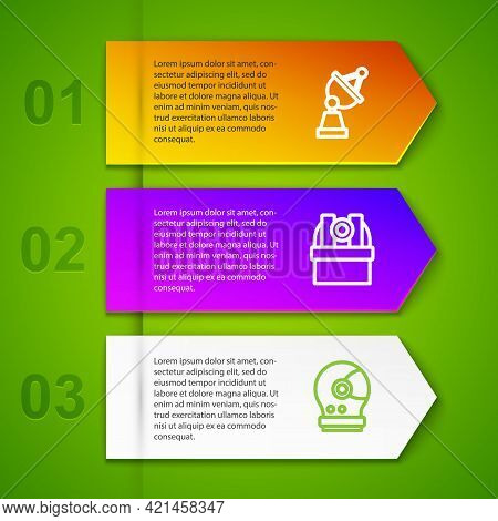 Set Line Satellite Dish, Astronomical Observatory And Astronaut Helmet. Business Infographic Templat