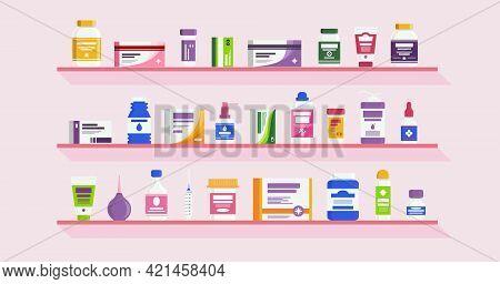Pharmacy Shelves With Bottles Vitamins, Medicine Pills, Capsules, Tablets, Drug, Antibiotic Healthca