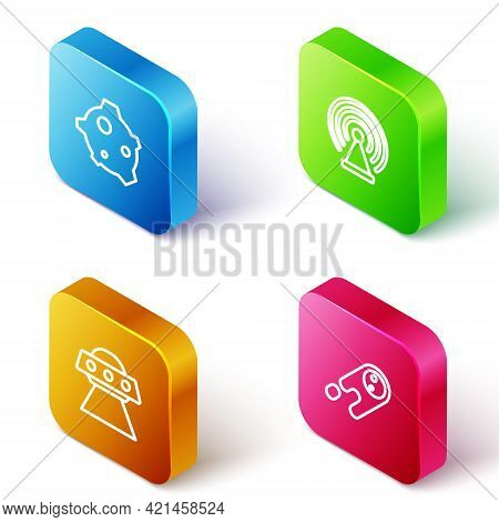 Set Isometric Line Asteroid, Radar, Ufo Flying Spaceship And Comet Falling Down Fast Icon. Vector