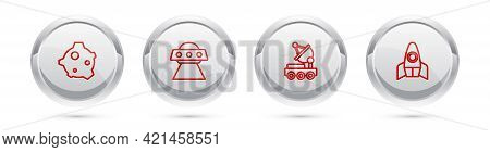 Set Line Asteroid, Ufo Flying Spaceship, Mars Rover And Rocket. Silver Circle Button. Vector