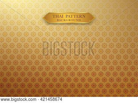 Thai Vintage Pattern Traditional Background Wallpaper. Thai Element Design. Vector Illustration