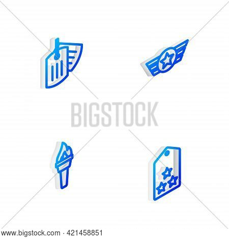 Set Isometric Line Star American Military, Military Dog Tag, Torch Flame And Rank Icon. Vector