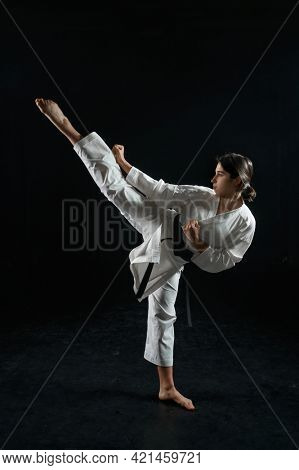 Male karate fighter, combat stance in action