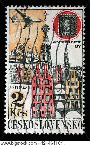 ZAGREB, CROATIA - SEPTEMBER 18, 2014: Stamp printed in Czechoslovakia shows AMPHILEX '67, Amsterdam, Stamp exhibition Prague 1968 series, circa 1967