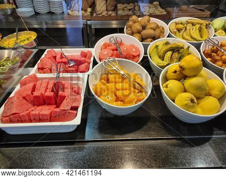 Food On The Shelves In The Self-service Buffet With All Inclusive In Turkey