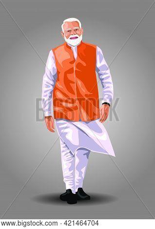 Indian Old Man Walking Look Like Indian Prime Minister Narendra Modi