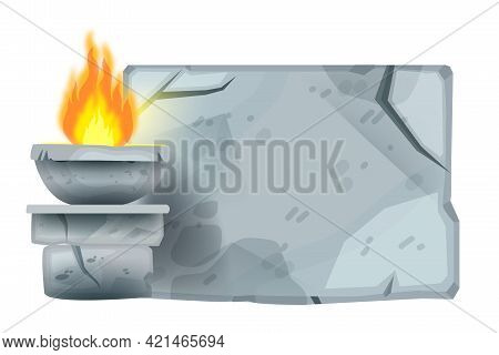 Ancient Stone Sign Board, Vector Cartoon Game Rock Tablet, Cracked Granite Boulder, Fire. Nature Ui