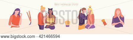 Makeup Beauty Woman Applying Cosmetics On Face Set