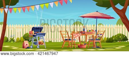 Bbq, Food And Drinks Garden Party In Backyard, Served Table And Chairs, Umbrella. Fruits And Vegetab