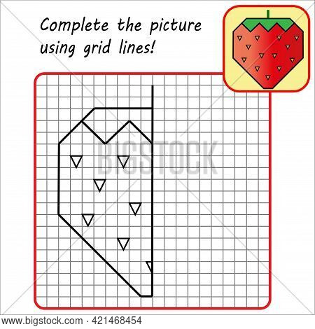 Educational Game For Kids. Simple Exercise Strawberry. Drawing Using Grid. Symmetrical Drawing. Vect