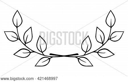 Two Intersecting Twigs With Leaves. Hand Drawn Laurel Wreath Doodle Black Outline. Design Element Di