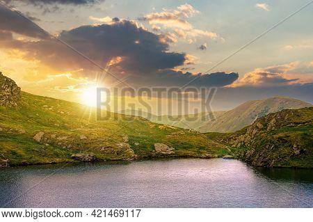 Summer Landscape With Lake On High Altitude At Sunset. Beautiful Scenery Of Fagaras Mountain Ridge I
