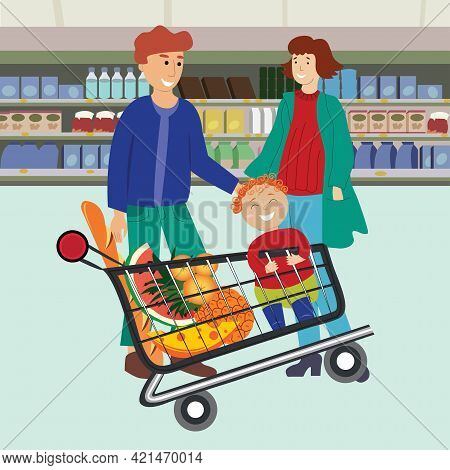 Family Shopping In The Supermarket. Parents With Son Buying Groceries In Shop. Child Sitting In Supe
