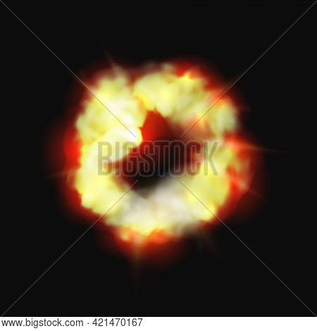 Bomb And Fire Explosion Isolated Cartoon Burning Cloud. Vector Dynamite Detonator Mobile And Ui Game