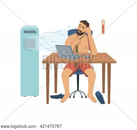 Male Character Working In Summer Heat Office Room, Undressed Man Personage Using Portable Air Condit