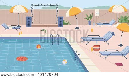 Furniture And Umbrellas, Inflatable Lifebuoy And Ball By Pool Party. Scene By Water, Luxurious Resor