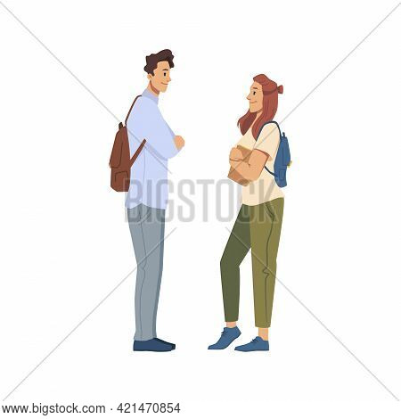 Male And Female Character Talking Or Flirting, Young Boy And Girl Having Conversation. University Fr